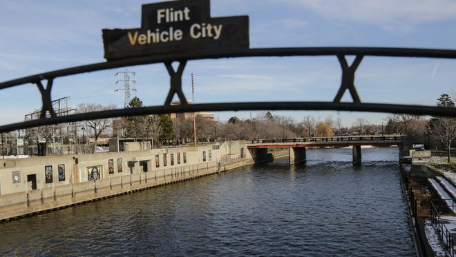 A view of the Flint River running through downtown Flint on Jan. 6, 2016, near Saginaw Street.