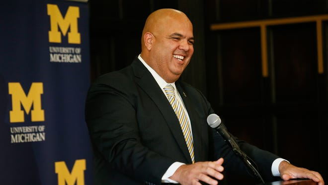 Warde Manuel is  introduced as the new athletic director at Michigan in Ann Arbor  on Friday, Jan. 29, 2016.