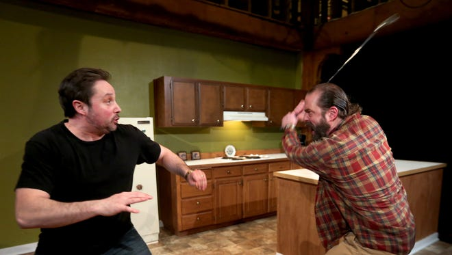 """Lance Nuttman, left, as Lee, and Seth Allen, as Austin, rehearse for The Verona Studio's """"True West"""" at the Reed Opera House. The actors meticulously rehearsed the production's realistic fight sequences. The play runs Feb. 18-March 5."""