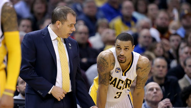 Despite persistent trade rumors Frank Vogel says George Hill isn't going anywhere.