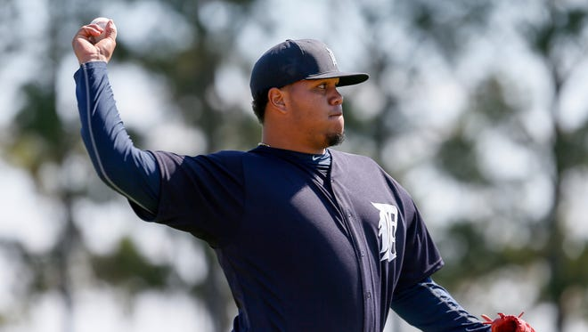 Tigers pitcher Bruce Rondon throws the ball during Detroit Tigers spring training at Joker Marchant Stadium in Lakeland, Fla. on Friday, Feb. 19, 2016.
