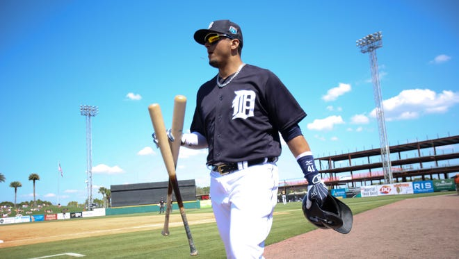 Detroit Tigers' Victor Martinez walks toward the dugout during an exhibition game against the Pittsburgh Pirates at Joker Marchant Stadium in Lakeland, Fla. on Tuesday, March 1, 2016.