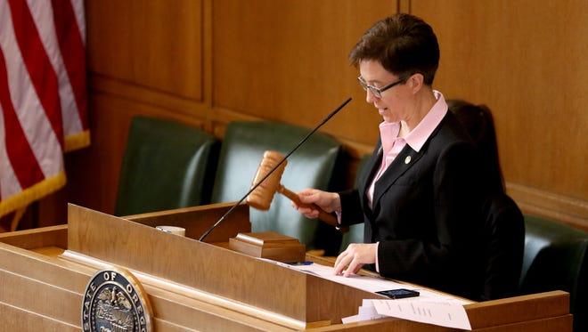 House Speaker Tina Kotek speaks before Sine Die to adjourn the 2016 legislative session at the Oregon State Capitol in Salem on Thursday, March 3, 2016.