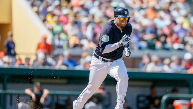 Detroit Tigers designated hitter Victor Martinez tries to out run a double play during an exhibition against the Pittsburgh Pirates at Joker Marchant Stadium in Lakeland, Fla. on March 1, 2016.
