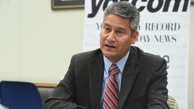 Secretary of State Pedro Cortés speaks with the York Daily Record editorial board.