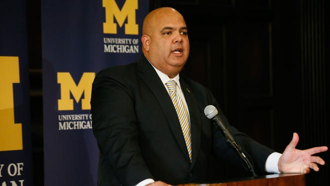 Warde Manuel is introduced at the University of Michigan on Jan. 29, 2016.