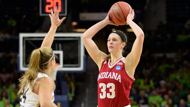 Clyde graduate Amanda Cahill looks over a Notre Dame defender for Indiana during the NCAA Tournament.