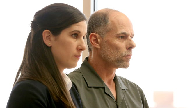 Theodore Dodenhoff stands with his attorney, Katherine Kahl, during a his trial for allegedly trapping and killing a cat. Photographed at the Marion County Court in downtown Salem on Wednesday, March 30, 2016. Dodenhoff is charged with animal abuse in the first degree, aggravated animal abuse in the first degree, animal neglect in the first degree and theft in the first degree.