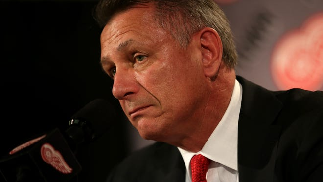 Red Wings general manager Ken Holland talks to reporters on Monday at Joe Louis Arena.
