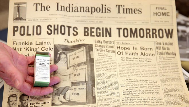 An old copy of The Indianapolis Times and a vial of polio vaccine was found in a 1955 time capsule opened at Community Hospital East on Wednesday.