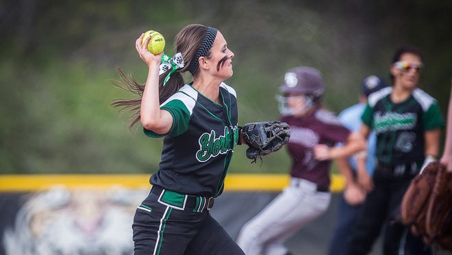 Yorktown's Kara Tucker throws the ball to first against Wes-Del during their game at the Yorktown Sports Park Friday, April,29, 2016. Yorktown drew Hamilton Heights in the first round of sectionals.