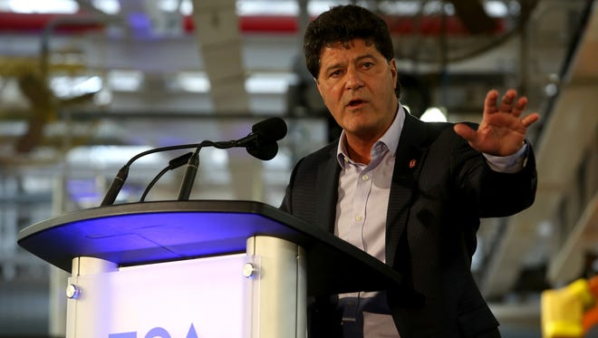 Jerry Dias, the president of Unifor, talks on stage at the FCA Windsor Assembly Plant in Windsor, Ontario Canada on Friday, May 6, 2016, where the 2017 Chrysler Pacifica is built.