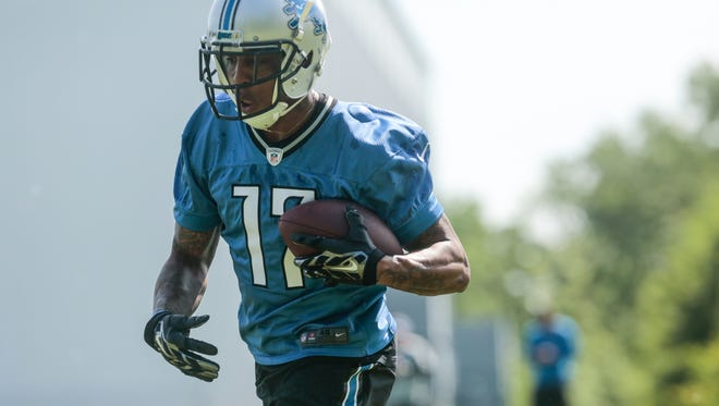Detroit Lions wide receiver Andre Caldwell makes a catch during practice in Allen Park on June 2, 2016.