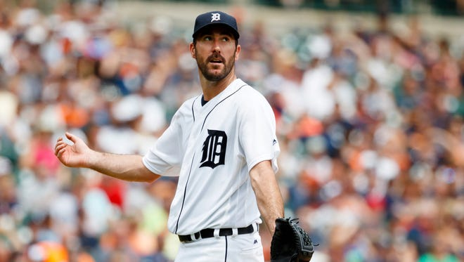 Jun 26, 2016; Detroit, MI, USA; Detroit Tigers starting pitcher Justin Verlander reacts after he gives up a home run to Cleveland Indians right fielder Lonnie Chisenhall (not pictured) in the fifth inning at Comerica Park.
