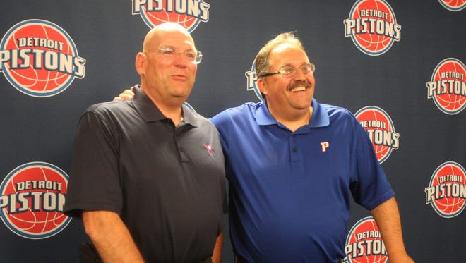 Detroit Pistons head coach and president Stan Van Gundy and general manager Jeff Bower.