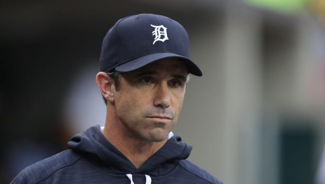 Detroit Tigers manager Brad Ausmus in the dugout during first inning action against the Miami Marlins Tuesday, June 28, 2016 at Comerica Park in Detroit.
