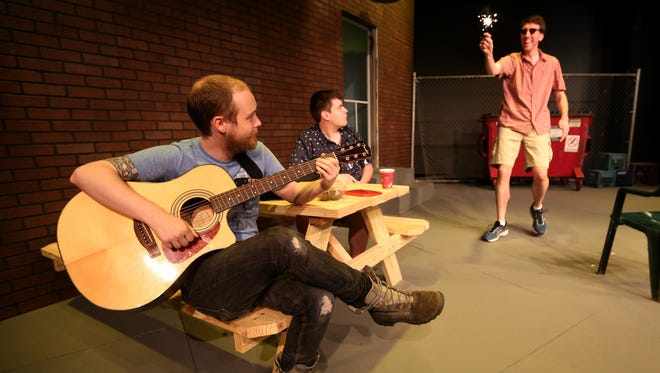 """Michael Sanders, from left, as Jasper, Max Romprey, as Evan, and Sam Thompson, as KJ, rehearse """"The Aliens"""" at the Pentacle Theatre in Salem on Monday, June 27, 2016. The play runs July 8 - 30."""
