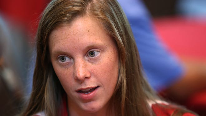 IU Olympic diver Amy Cozad speaks to the press during IU Swimming & Diving Olympian Media Day in the Henke Hall of Champions in Bloomington, Monday, July 11, 2016.