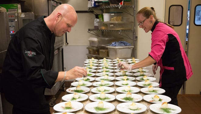 Chef Heather Beckman and Ian Beckman plate deviled eggs at the Silver Grill Cafe,