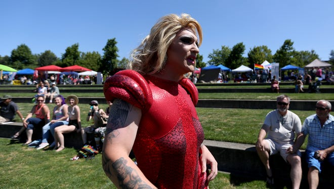 Shelby Steele performs in drag during Capitol Pride at Riverfront Park in Salem on Saturday, Aug. 6, 2016.