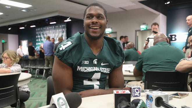 Michigan State defensive lineman Malik McDowell talks with reporters about the upcoming season Monday, August 8, 2016 at Spartan Stadium in East Lansing.