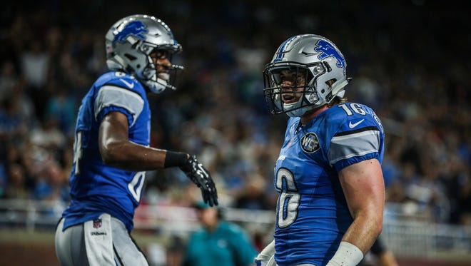 Detroit Lions WR Jace Billingsley, right, celebrates his touchdown against the Buffalo Bills during a preseason game at Ford Field in Detroit on Thursday, September 1, 2016.