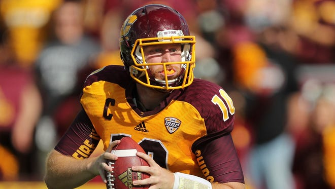 Sep 17, 2016; Mount Pleasant, MI, USA; Central Michigan Chippewas quarterback Cooper Rush looks for an open receiver during the second quarter against the UNLV Rebels at Kelly/Shorts Stadium.
