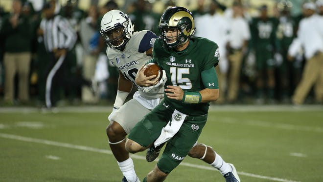 CSU quarterback Collin Hill injured his knee at the end of a 19-yard run Saturday night during the Rams' 31-24 win over Utah State.