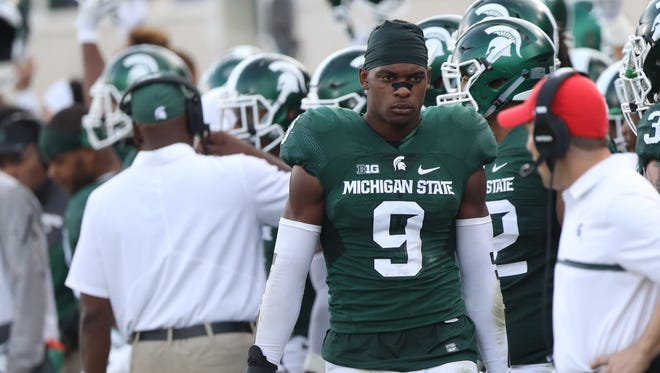 Michigan State Spartans safety Montae Nicholson on the sidelines during the second half against the Northwestern Wildcats on Saturday, Oct. 15, 2016 at  Spartan Stadium in East Lansing.