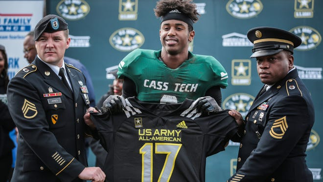 Detroit Cass Tech's Donovan Peoples-Jones is honored as a 2017 U.S. Army All-America on Oct. 1, 2016, in Detroit.