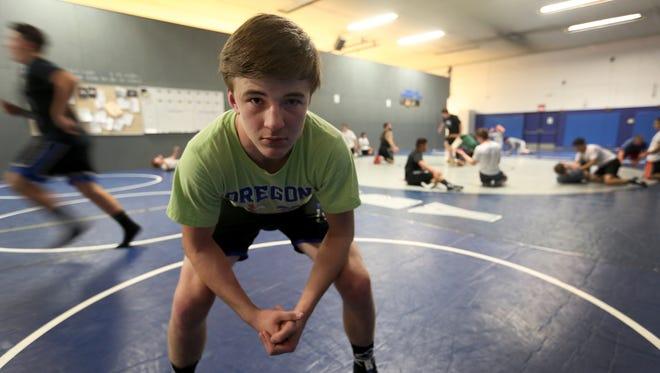 Junior wrestler Brayden Ebbs at McNary High School in Keizer on Friday, Nov. 18, 2016.