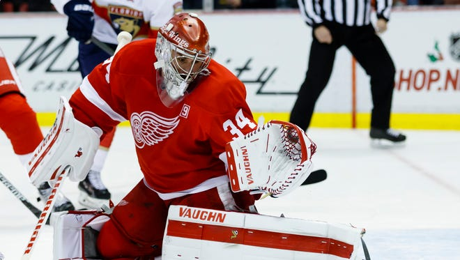 Dec 1, 2016; Detroit, MI, USA; Red Wings goalie Petr Mrazek makes the save in the third period against the Florida Panthers at Joe Louis Arena.