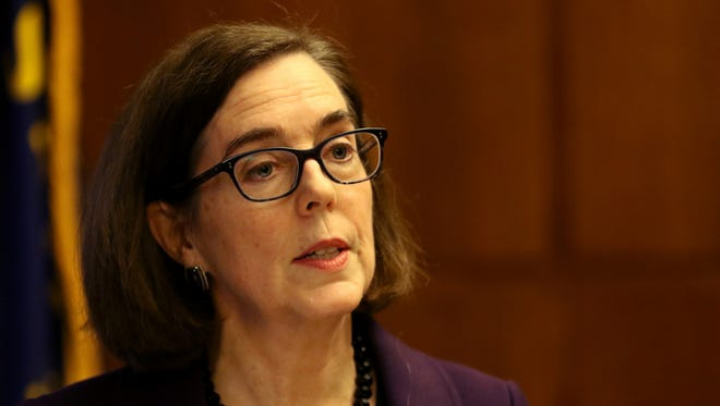 Gov. Kate Brown speaks about her proposed 2017-2019 budget at the Oregon State Capitol in Salem on Thursday, Dec. 1, 2016. Her chief of staff resigned on Tuesday.