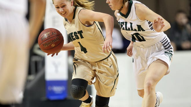 West High's Lauren Zacharias takes the ball down court during the Women of Troy's game against Pella at the US Cellular Center in Cedar Rapids on Saturday, Jan. 7, 2017.