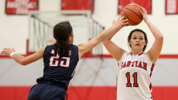 Santiam's Kelsey Clark (11) looks the pass the ball