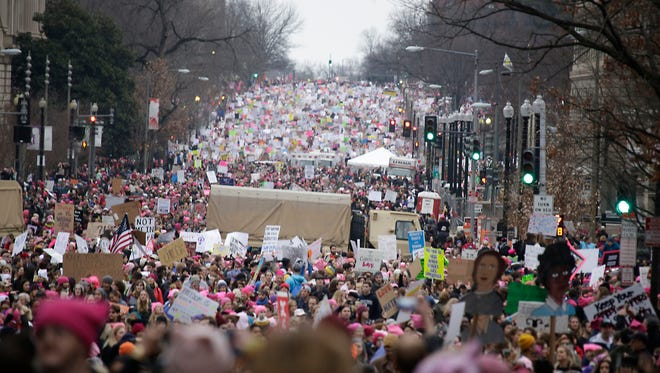 Marchers pack 14th Street during the Women's March on Washington on Saturday, Jan. 21, 2017.