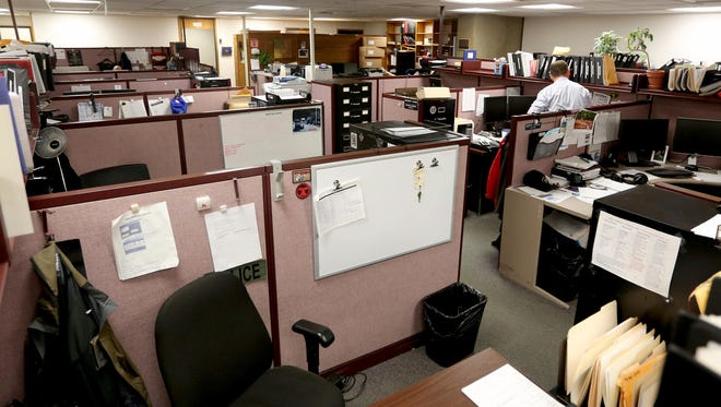The patrol officers' area at the Salem Police Department facility at City Hall.