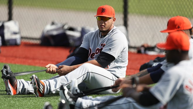 Detroit Tigers pitcher Joe Jimenez stretches during Tigers spring training on Wednesday, Feb. 15, 2017 at Publix Field at Joker Marchant Stadium in Lakeland, Fla.