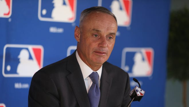 MLB commissioner Rob Manfred took questions from reporters Thursday, Feb. 16, 2017 at Publix Field at Joker Marchant Stadium in Lakeland, Fla.