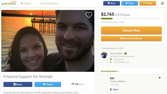 A GoFundMe page launched on behalf of Kai Hamik's girlfriend had raised more than $2,600 as of late Thursday afternoon.