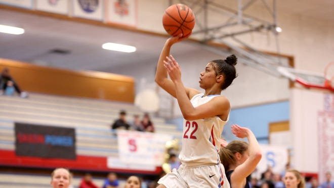 South Salem's Evina Westbrook (22) goes for two points in the first half of the West Albany vs. South Salem girl's basketball game at South Salem High School on Friday, Jan. 20, 2017. South Salem won the game 75-41.