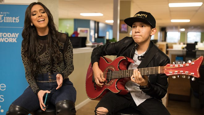 Megan Chapa with RT Renteria perform at the Corpus Christi Caller-Times during an Off the Record performance on Wednesday, March 8, 2017.
