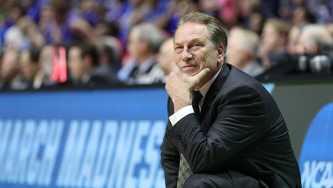Michigan State Spartans head coach Tom Izzo looks on during the second half of MSU's 90-70 loss to Kansas in the second round of the 2017 NCAA tournament at BOK Center on March 19, 2017 in Tulsa, Okla.