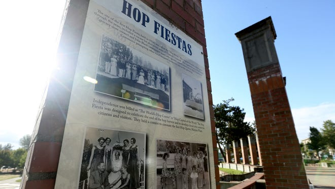 Panels with the history of hops and agricultural heritage are on display at Riverview Park in Independence.