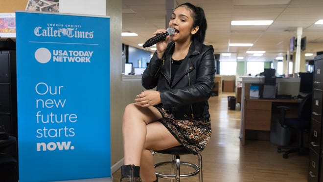Isabel Marie Sanchez performs during the Off the Record in the Caller-Times Newsroom on Wednesday, March 22, 2017.