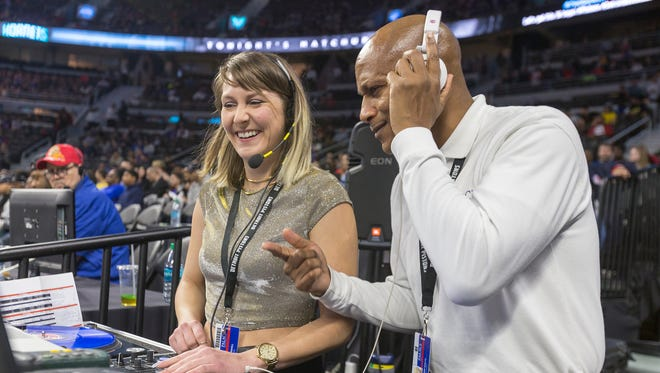 Emily Thornhill or DJ Thornstryker, left, chats with Clinton Shannon Sailes Sr. otherwise known as the dancing usher, during a Pistons game March 24, 2017 at the Palace.