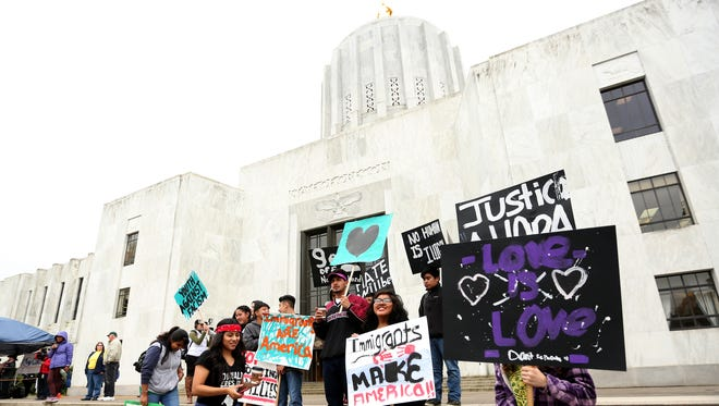 About 1,500 people attend a May Day Rally at the Oregon State Capitol in Salem on Monday, May 1, 2017.