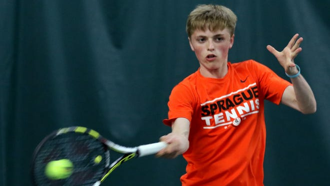 Sprague's Logan Blair competes in the boy's singles championship at the Greater Valley Conference district meet at the Salem Tennis and Swim Club on Saturday, May 14, 2016.