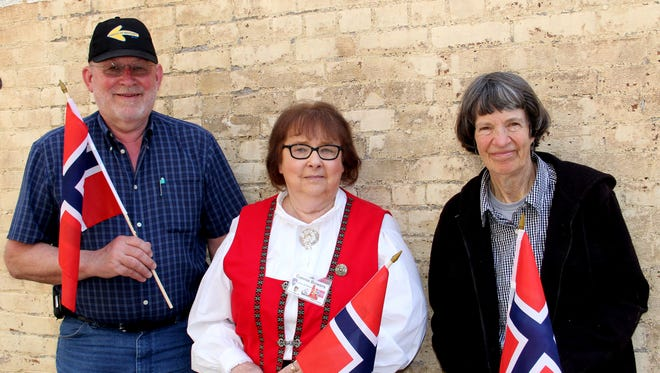 Dennis Will, from left, Connie Bowers, and Sharon Moore invited all to celebrate Syttende Mai, Norwegian Constitution Day, 5 p.m. Saturday, May 13, at the Salem Masonic Temple.