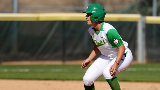 Oregon's Lauren Lindvall prepares to take off from